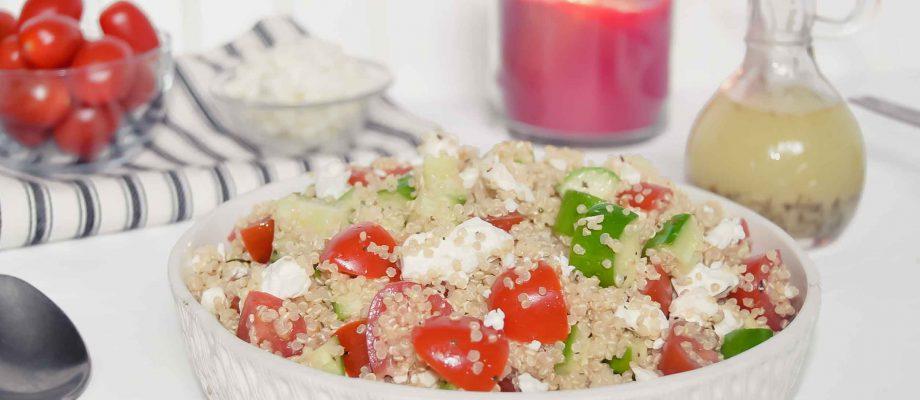 Quinoa Tomato Cucumber and Feta {with Italian Dressing}
