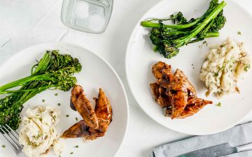 Overview image for Maple Balsamic Glazed Chicken. Top image is two round plates with maple balsamic glazed chicken, broccolini and mashed potatoes against a white board. https://www.atwistedplate.com/maple-balsamic-glazed-chicken/